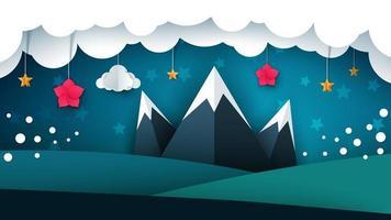 Paysage de papier de dessin animé. Montagne, fleur, nuage vecteur