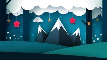 Paysage de nuit de dessin animé. Illustration de la montagne.