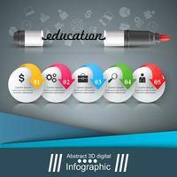 Craie, éponge, conseil scolaire - infographie de l'éducation. vecteur