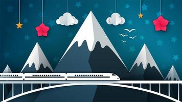 Paysage de montagne de dessin animé. Voyage, illustration.
