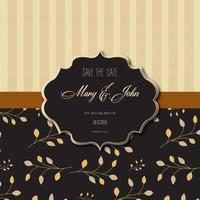 carte d'invitation de mariage avec des rayures et motif floral