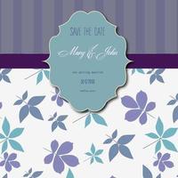 invitation de mariage avec des rayures et motif floral