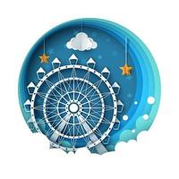 Paysage de papier de dessin animé. Illustration de la grande roue. vecteur