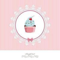 Modèle de carte de voeux avec cupcake vecteur