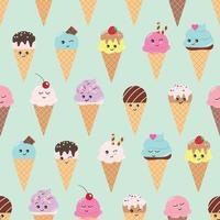 Modèle sans couture avec des cônes de crème glacée kawaii.