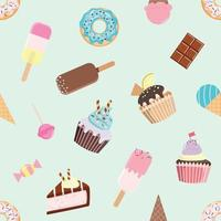 Modèle sans couture d'anniversaire avec différents bonbons.