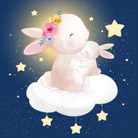 Joli petit lapin assis dans le nuage avec étoile vecteur