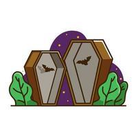 Cercueil sertie de chauves-souris vecteur