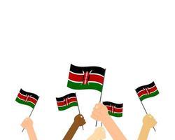 Mains tenant des drapeaux du Kenya vecteur