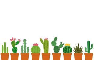 Set de petit pot de cactus vecteur