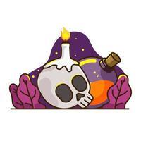 Crâne Bougie Et Potion vecteur