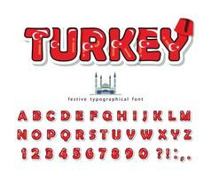 Police de dessin animé de Turquie avec des éléments décoratifs