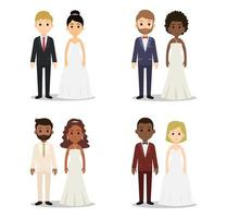 Collection de jeu de caractères de couple de mariage