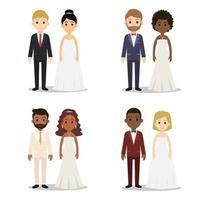 Collection de jeu de caractères de couple de mariage vecteur