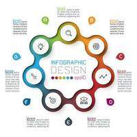Sept cercles avec infographie icône affaires.