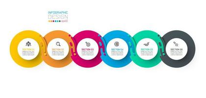 Six infographies de cercle harmonieux. vecteur