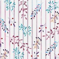 aquarelle motif floral avec des rayures vecteur