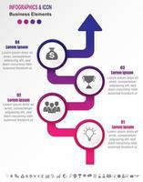 Chronologie d'entreprise infographique avec 4 étapes sur flèche en dégradé vecteur