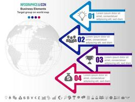 Chronologie des affaires infographiques avec des flèches et 4 options vecteur