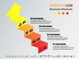 Graphique chronologique des affaires infographique avec 4 étapes vecteur