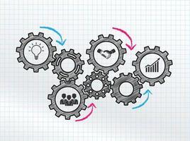 Conception de mécanismes marketing avec engrenages connectés et icônes vecteur