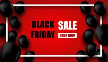 Black Friday Sale design avec cadre blanc et ballons noirs sur le rouge