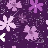 Motif de fleurs pourpres avec des formes modernes abstraites