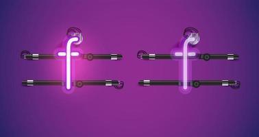 Caractère de néon violet brillant réaliste sur et en dehors vecteur