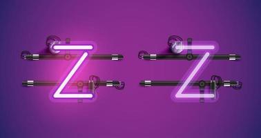 Caractère de néon violet brillant réaliste sur et en dehors