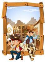 Deux cow-boys à la campagne vecteur