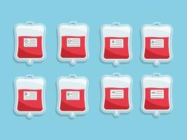 Sac de sang avec étiquette de groupe sanguin vecteur