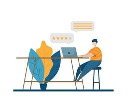 service à la clientèle en ligne donnant des commentaires
