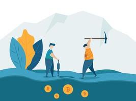Exploitation minière pour le concept de monnaie crypto bitcoins vecteur