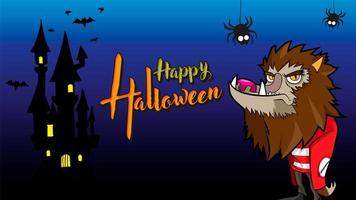 loup-garou joyeux fond d'halloween bleu