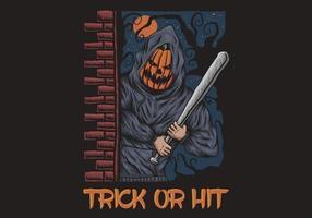 Trick or Hit illustration d'halloween avec homme citrouille tenant une batte