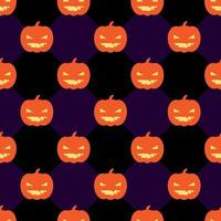 Motif d'halloween sans soudure avec des citrouilles sur fond noir et violet de losange.