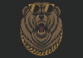 Ours cool en colère avec lunettes de soleil et collier vecteur