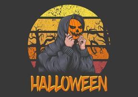 Illustration rétro de Halloween Sunset vecteur