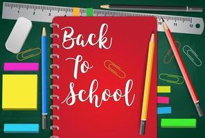 Retour au titre de l'école Mots avec éléments scolaires réalistes vecteur