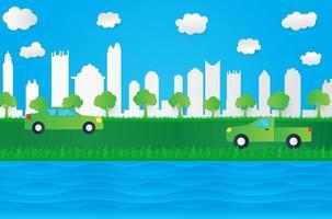 Paysage urbain de style papier avec rivière et herbe
