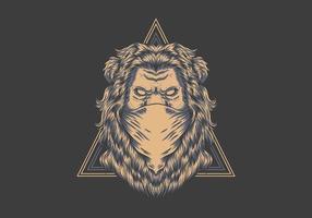 Lion bandana sur illustration badge triangle vecteur