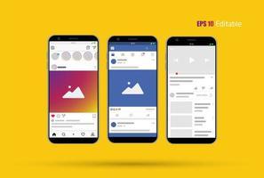 Nouveau modèle de flux, de publication et de page d'accueil avec les médias sociaux modernes, smartphone et arrière-plan modifiable