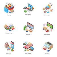 Icônes isométriques de commerce électronique