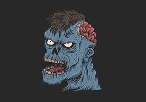 illustration tête zombie vecteur