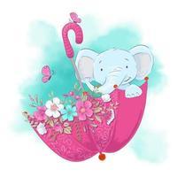 Éléphant de dessin animé mignon dans un parapluie avec des fleurs vecteur
