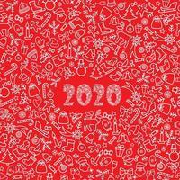 Carte de voeux de Noël Nouvel An 2020 vecteur
