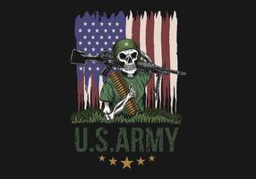 Illustration de l'armée américaine crâne mitrailleuse vecteur