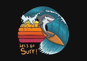 Requin surfant devant l'illustration du coucher de soleil vecteur