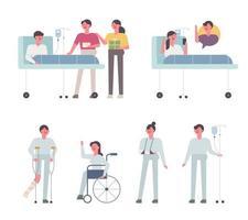 Divers patients à l'hôpital.