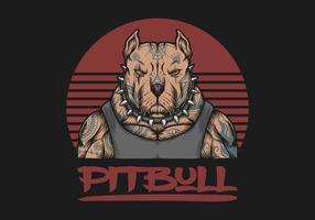 gangster pitbull avec illustration de tatouages vecteur